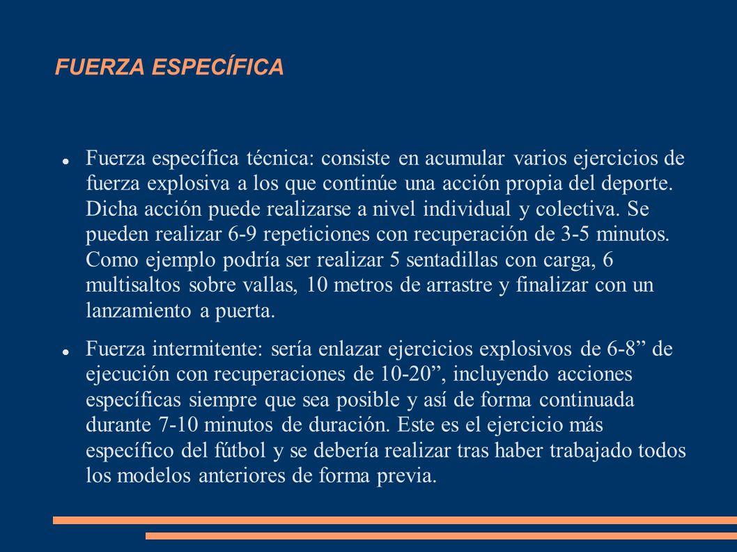 FUERZA ESPECÍFICA Fuerza específica técnica: consiste en acumular varios ejercicios de fuerza explosiva a los que continúe una acción propia del depor