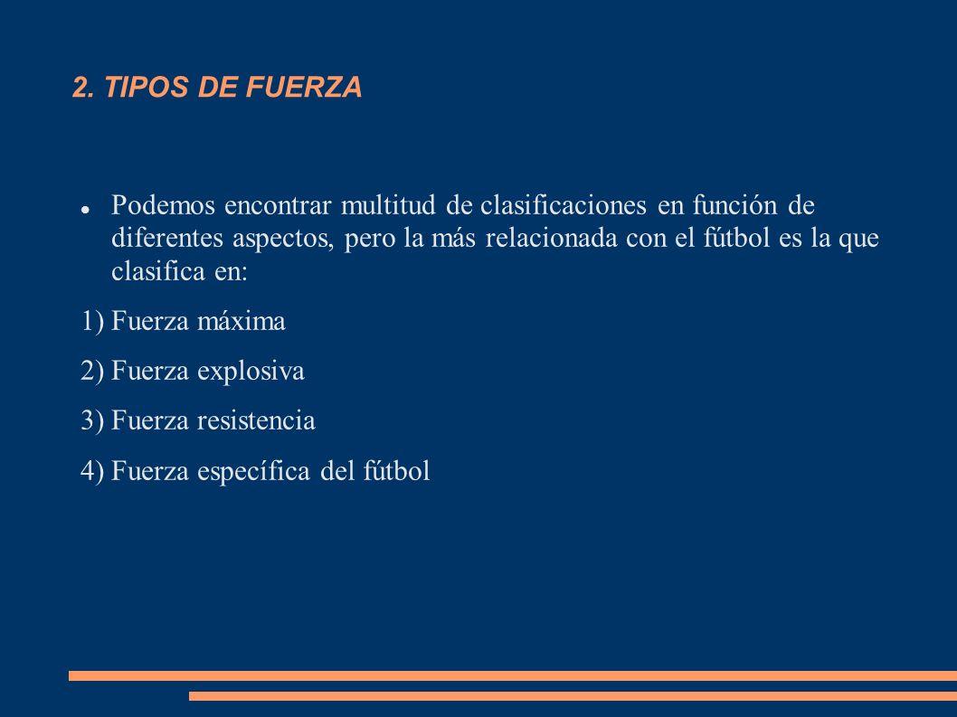 2. TIPOS DE FUERZA Podemos encontrar multitud de clasificaciones en función de diferentes aspectos, pero la más relacionada con el fútbol es la que cl