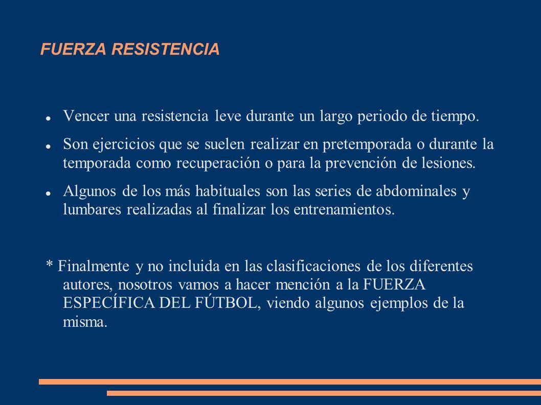 FUERZA RESISTENCIA Vencer una resistencia leve durante un largo periodo de tiempo. Son ejercicios que se suelen realizar en pretemporada o durante la