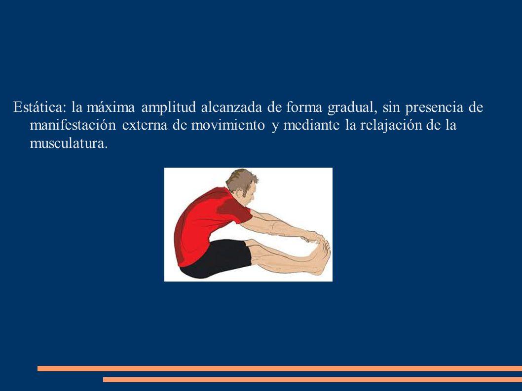 Estática: la máxima amplitud alcanzada de forma gradual, sin presencia de manifestación externa de movimiento y mediante la relajación de la musculatu