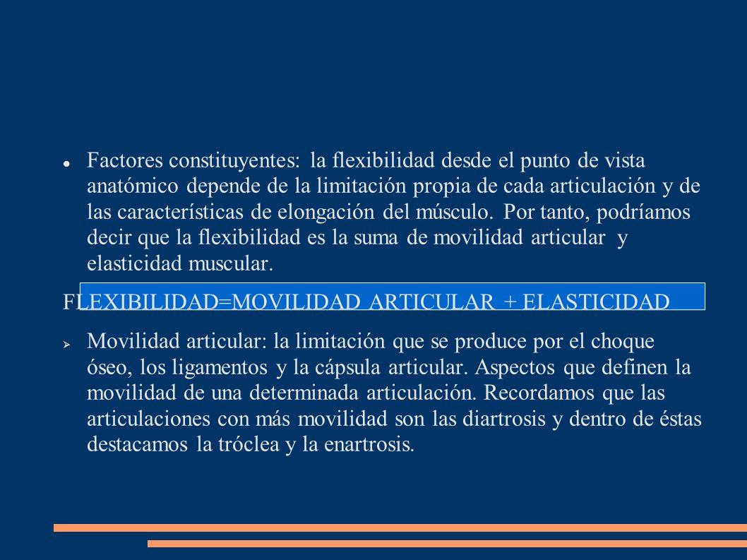 Factores constituyentes: la flexibilidad desde el punto de vista anatómico depende de la limitación propia de cada articulación y de las característic