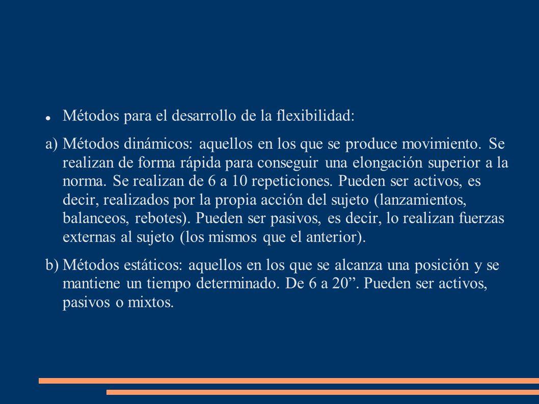 Métodos para el desarrollo de la flexibilidad: a)Métodos dinámicos: aquellos en los que se produce movimiento. Se realizan de forma rápida para conseg