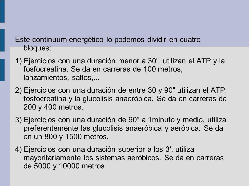 Este continuum energético lo podemos dividir en cuatro bloques: 1) Ejercicios con una duración menor a 30, utilizan el ATP y la fosfocreatina.