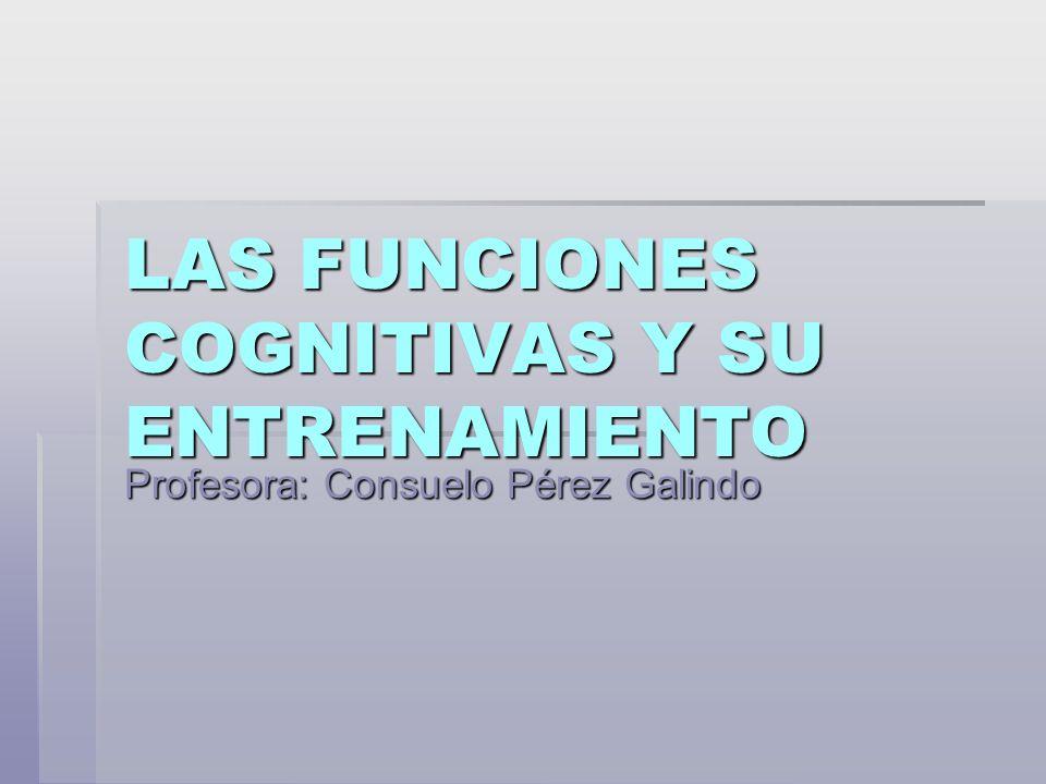 LAS FUNCIONES COGNITIVAS Y SU ENTRENAMIENTO Profesora: Consuelo Pérez Galindo