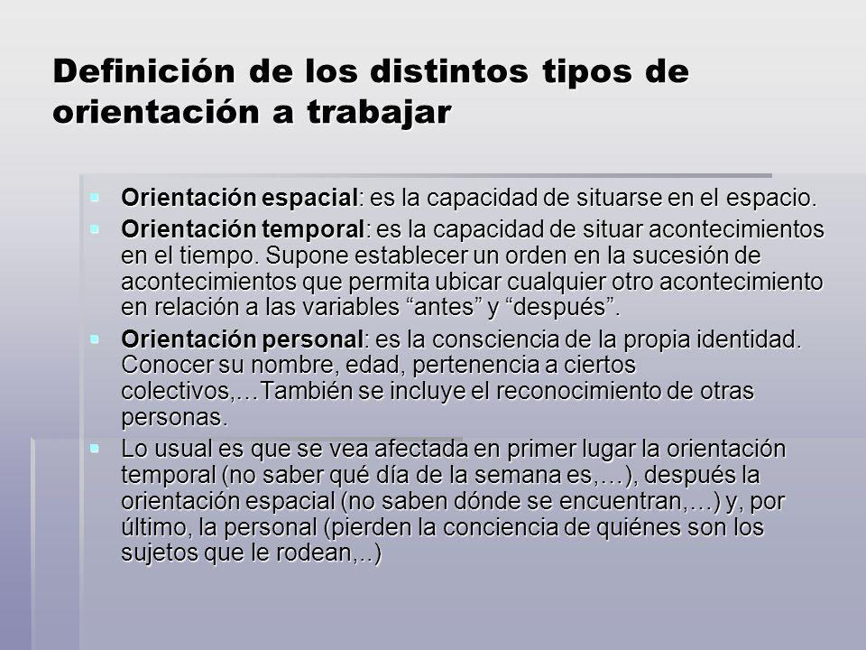Definición de los distintos tipos de orientación a trabajar Orientación espacial: es la capacidad de situarse en el espacio.