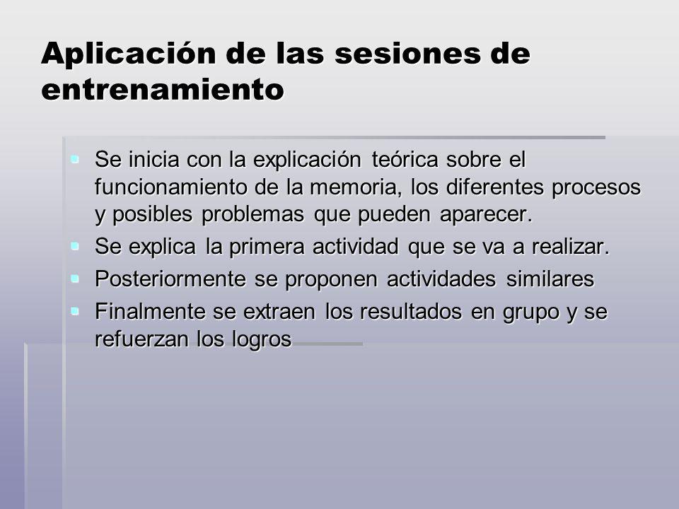 Aplicación de las sesiones de entrenamiento Se inicia con la explicación teórica sobre el funcionamiento de la memoria, los diferentes procesos y posibles problemas que pueden aparecer.