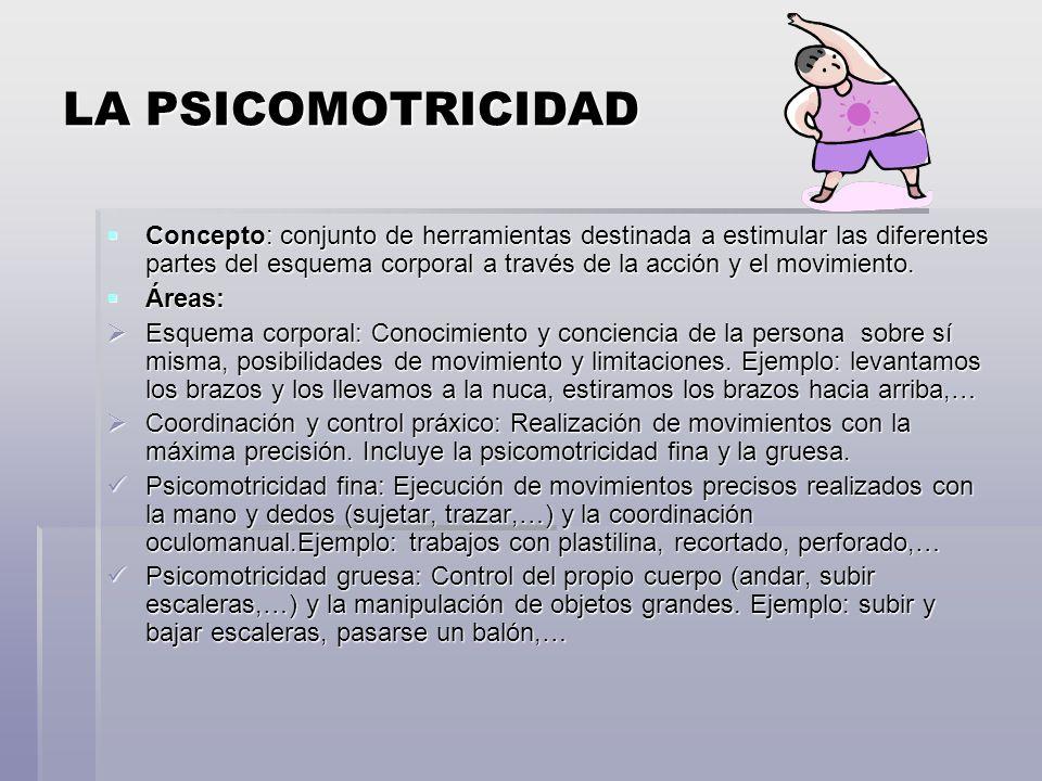 LA PSICOMOTRICIDAD Concepto: conjunto de herramientas destinada a estimular las diferentes partes del esquema corporal a través de la acción y el movimiento.