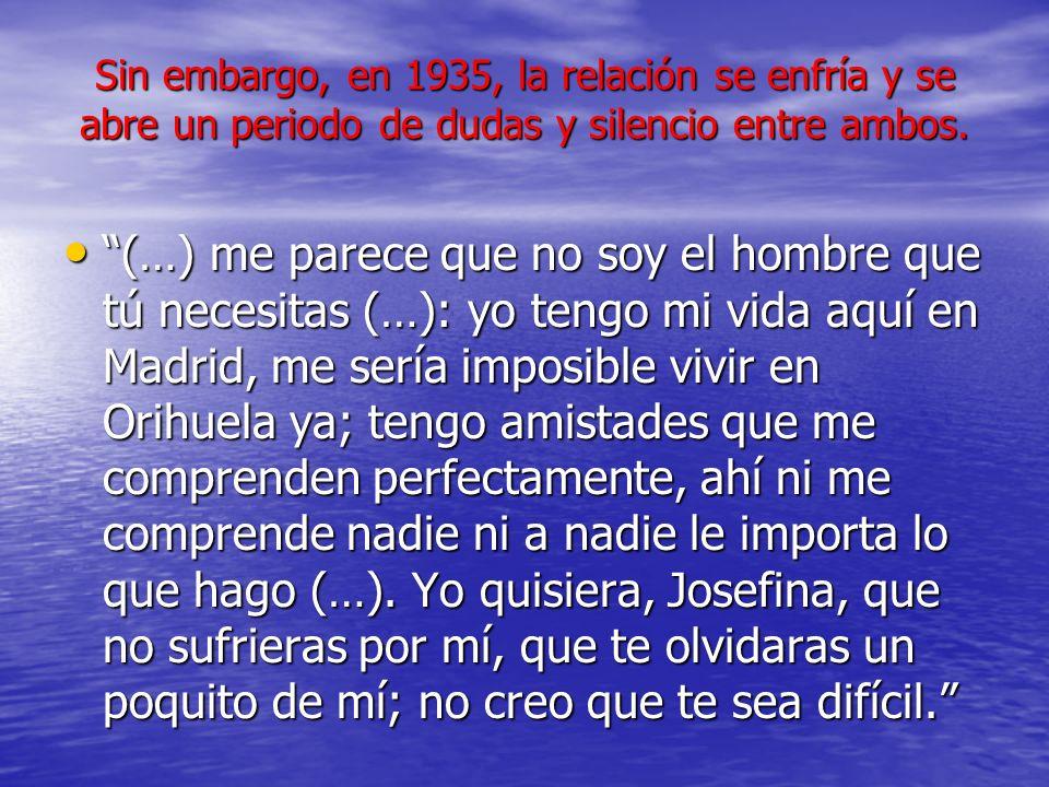 Sin embargo, en 1935, la relación se enfría y se abre un periodo de dudas y silencio entre ambos. (…) me parece que no soy el hombre que tú necesitas