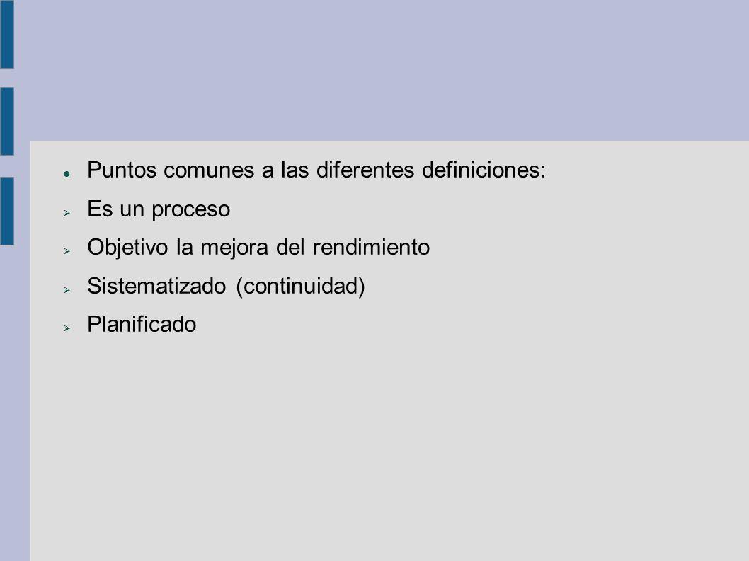 Puntos comunes a las diferentes definiciones: Es un proceso Objetivo la mejora del rendimiento Sistematizado (continuidad) Planificado