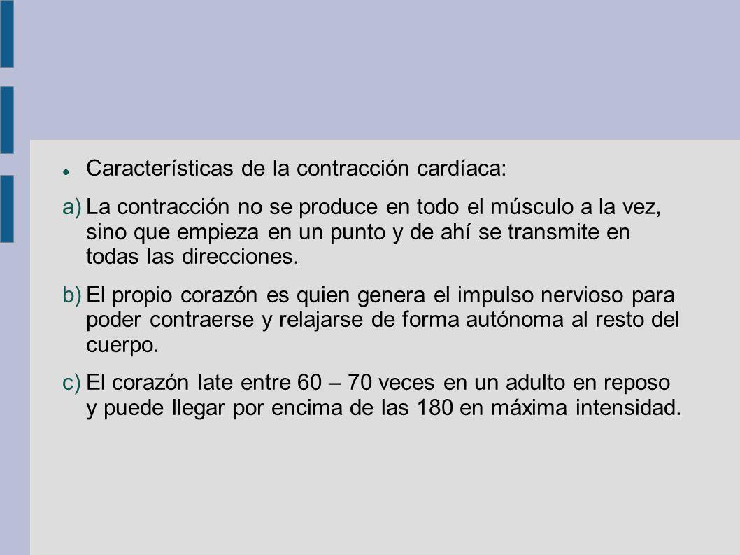 Características de la contracción cardíaca: a)La contracción no se produce en todo el músculo a la vez, sino que empieza en un punto y de ahí se trans