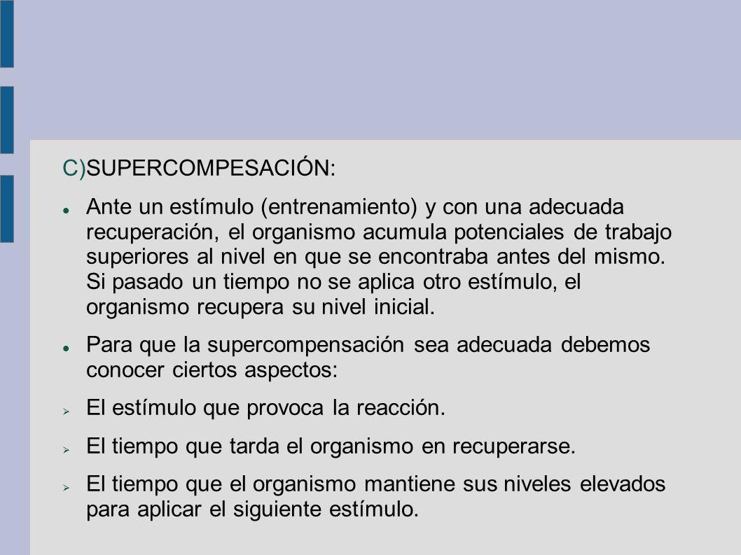 C)SUPERCOMPESACIÓN: Ante un estímulo (entrenamiento) y con una adecuada recuperación, el organismo acumula potenciales de trabajo superiores al nivel en que se encontraba antes del mismo.