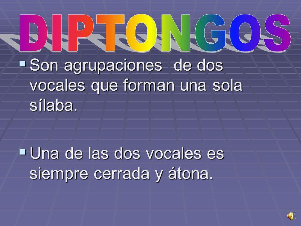 Son agrupaciones de dos vocales que forman una sola sílaba.