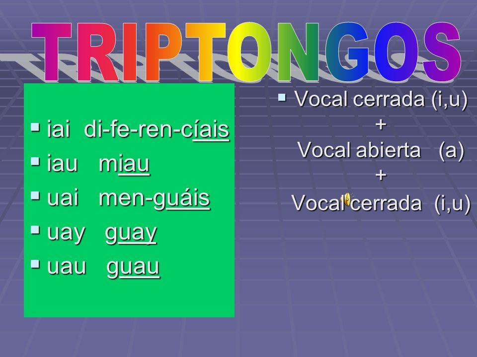Son agrupaciones de tres vocales que forman una sola sílaba. Son agrupaciones de tres vocales que forman una sola sílaba. Están formados por una vocal