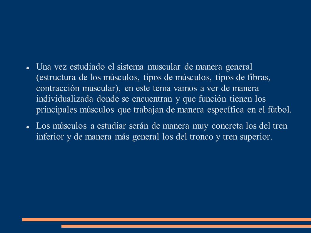 Una vez estudiado el sistema muscular de manera general (estructura de los músculos, tipos de músculos, tipos de fibras, contracción muscular), en est