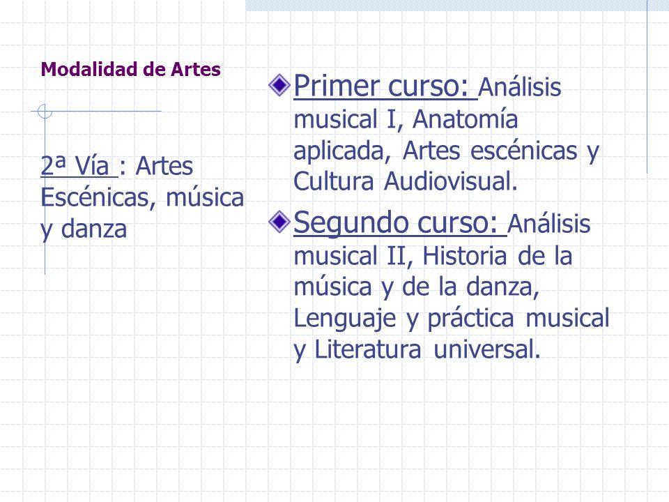 Los bachilleratos (5). Se organiza en dos vías : 1ª Artes Plásticas, Diseño e Imagen.