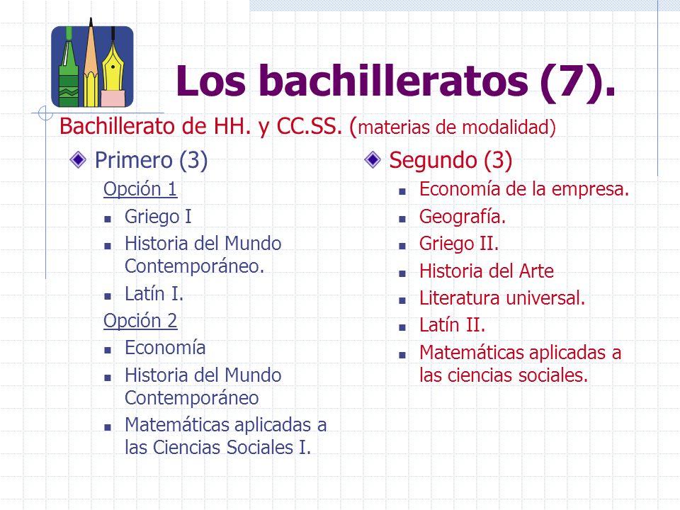 Bachillerato Ciencias y Tecnología RAMAMATERIA DE MODALIDADTÍTULOS DE GRADO EN LAS UNIV.