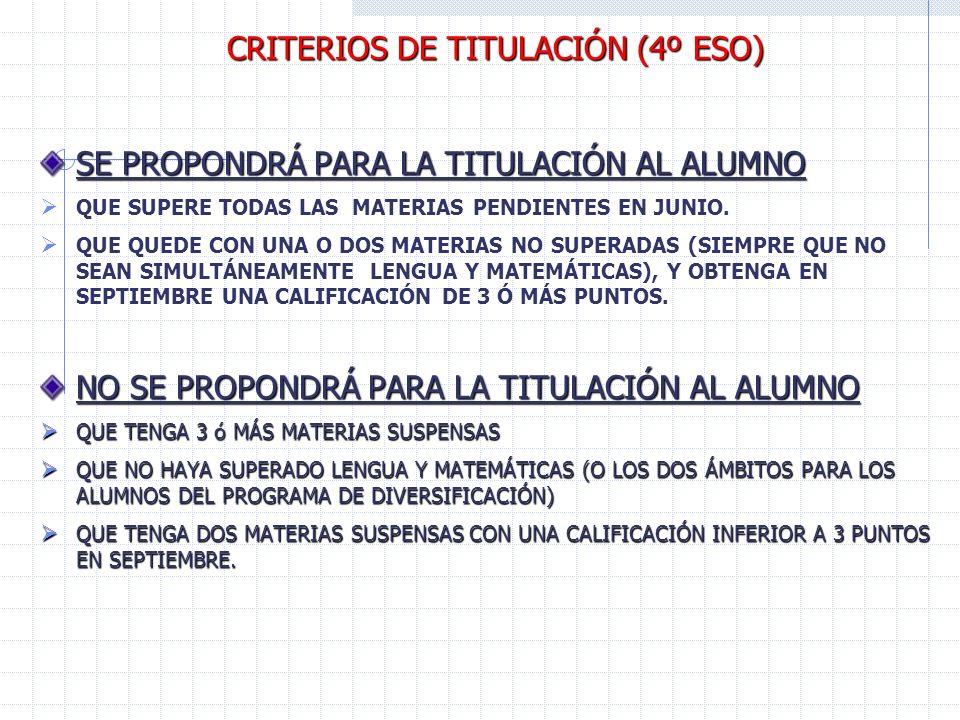 CRITERIOS DE TITULACIÓN (4º ESO) SE PROPONDRÁ PARA LA TITULACIÓN AL ALUMNO QUE SUPERE TODAS LAS MATERIAS PENDIENTES EN JUNIO.