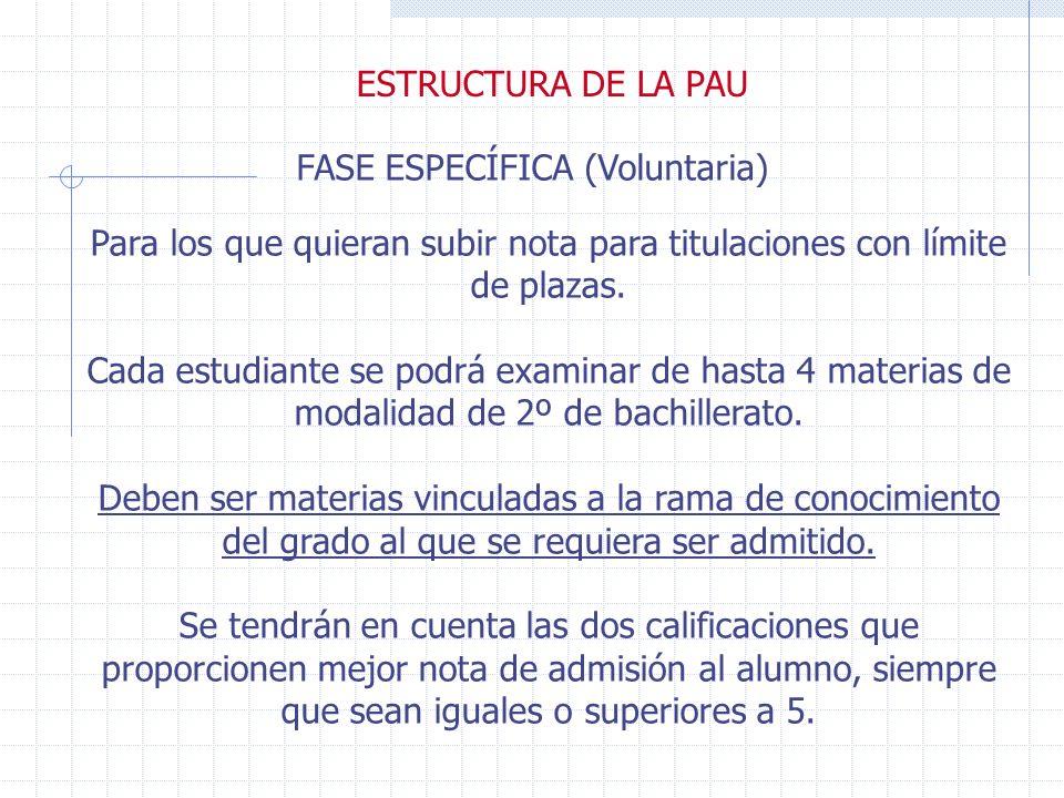 ESTRUCTURA DE LA PAU FASE GENERAL (Obligatoria) 1- Lengua castellana y literatura 2- Materia común, a elegir por el alumno entre Historia de la Filosofía e Historia de España.