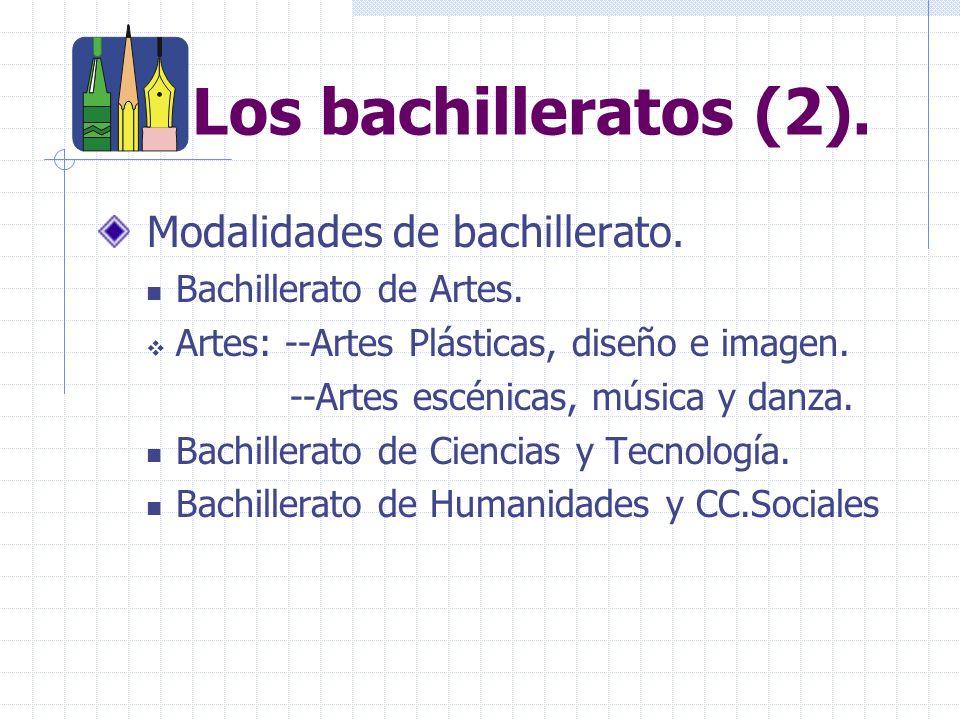 Los bachilleratos (2).Modalidades de bachillerato.