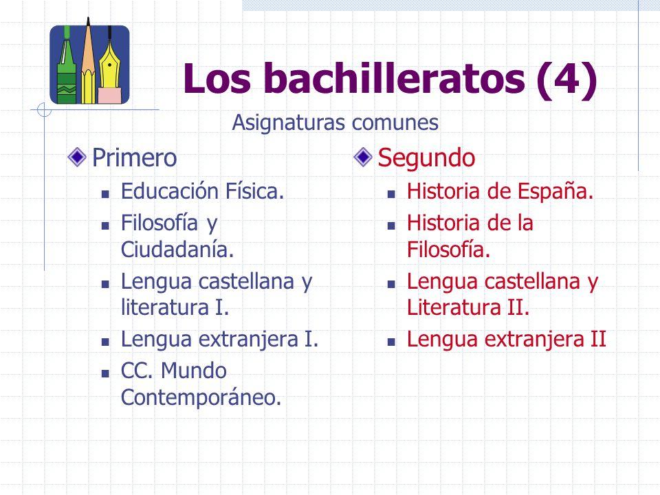 Los bachilleratos (4) Primero Educación Física.Filosofía y Ciudadanía.