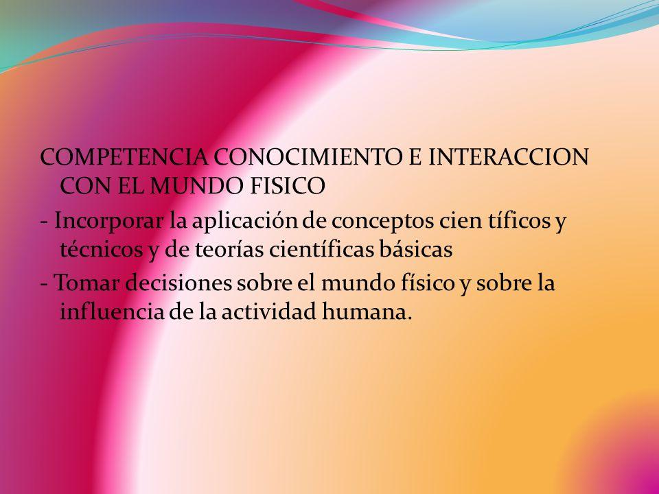 COMPETENCIA CONOCIMIENTO E INTERACCION CON EL MUNDO FISICO - Incorporar la aplicación de conceptos cien tíficos y técnicos y de teorías científicas básicas - Tomar decisiones sobre el mundo físico y sobre la influencia de la actividad humana.