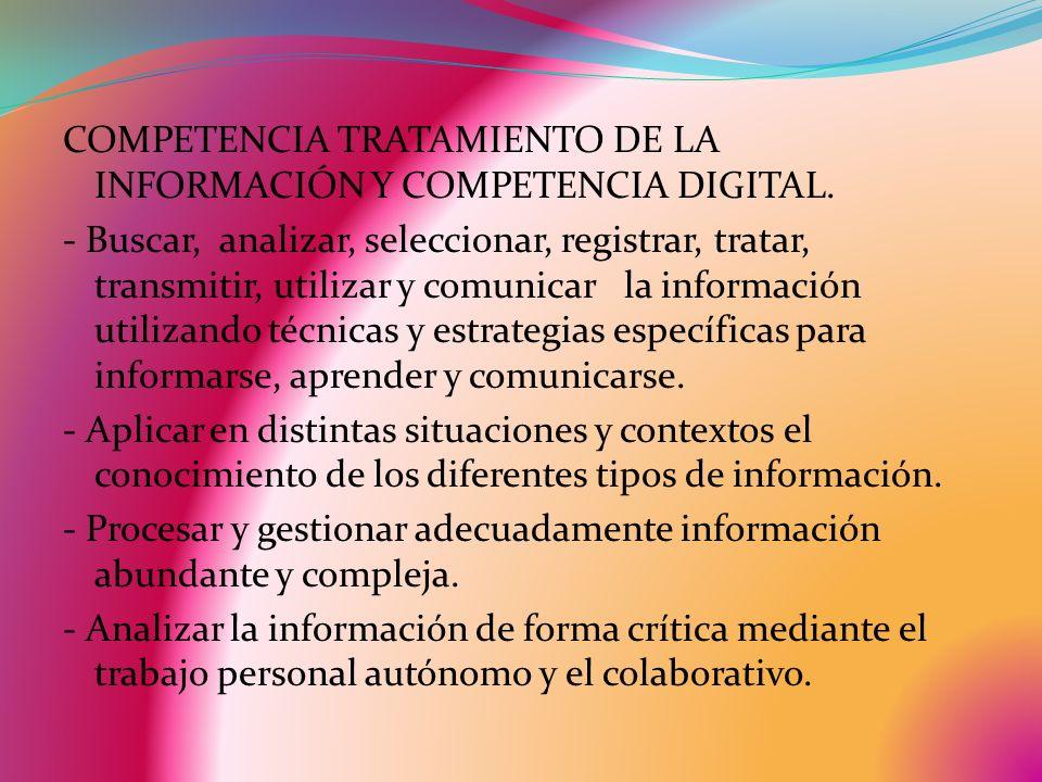 COMPETENCIA TRATAMIENTO DE LA INFORMACIÓN Y COMPETENCIA DIGITAL. - Buscar, analizar, seleccionar, registrar, tratar, transmitir, utilizar y comunicar