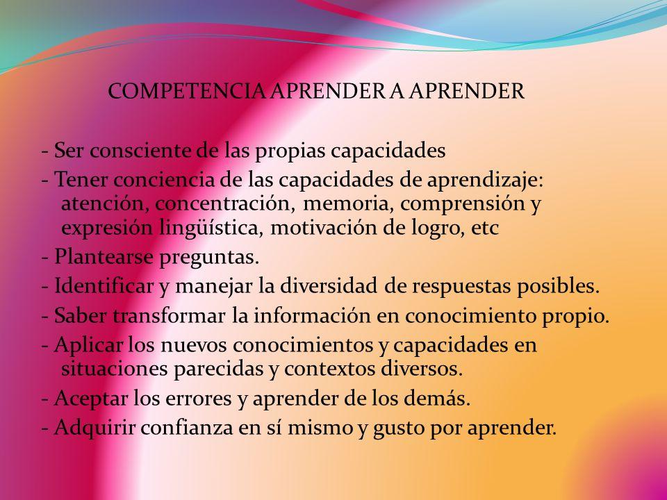COMPETENCIA APRENDER A APRENDER - Ser consciente de las propias capacidades - Tener conciencia de las capacidades de aprendizaje: atención, concentración, memoria, comprensión y expresión lingüística, motivación de logro, etc - Plantearse preguntas.