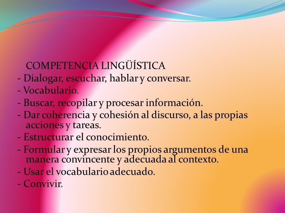 COMPETENCIA LINGÜÍSTICA - Dialogar, escuchar, hablar y conversar. - Vocabulario. - Buscar, recopilar y procesar información. - Dar coherencia y cohesi
