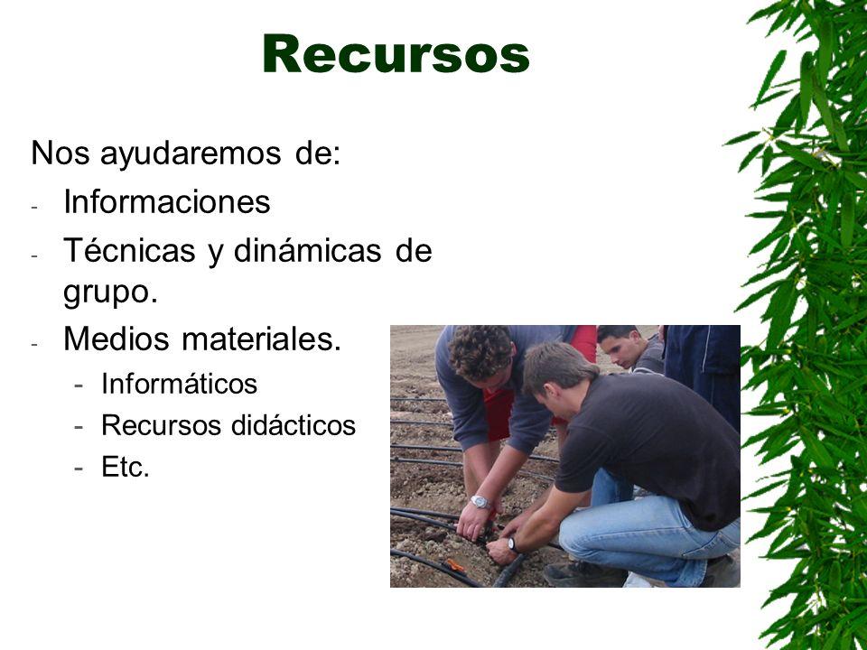 Recursos Nos ayudaremos de: - Informaciones - Técnicas y dinámicas de grupo. - Medios materiales. -Informáticos -Recursos didácticos -Etc.
