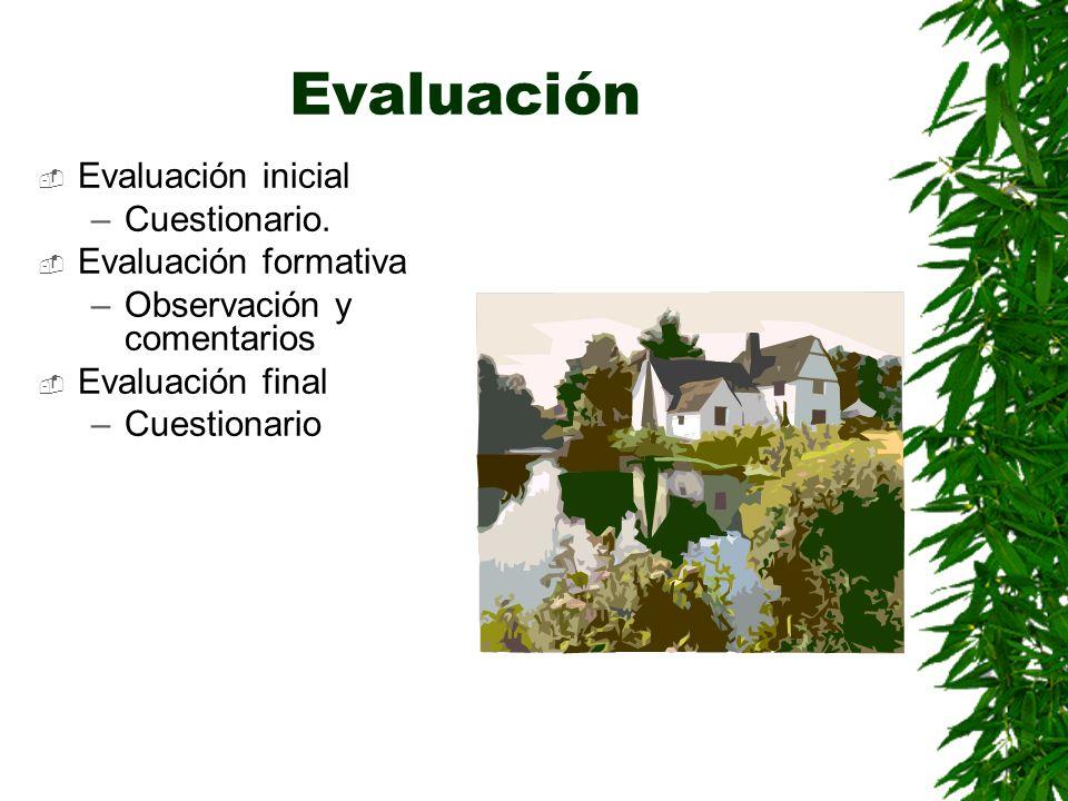 Evaluación Evaluación inicial –Cuestionario. Evaluación formativa –Observación y comentarios Evaluación final –Cuestionario