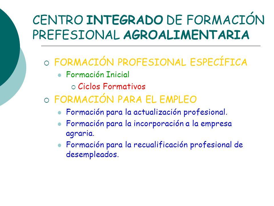 CENTRO INTEGRADO DE FORMACIÓN PREFESIONAL AGROALIMENTARIA FORMACIÓN PROFESIONAL ESPECÍFICA Formación Inicial Ciclos Formativos FORMACIÓN PARA EL EMPLE