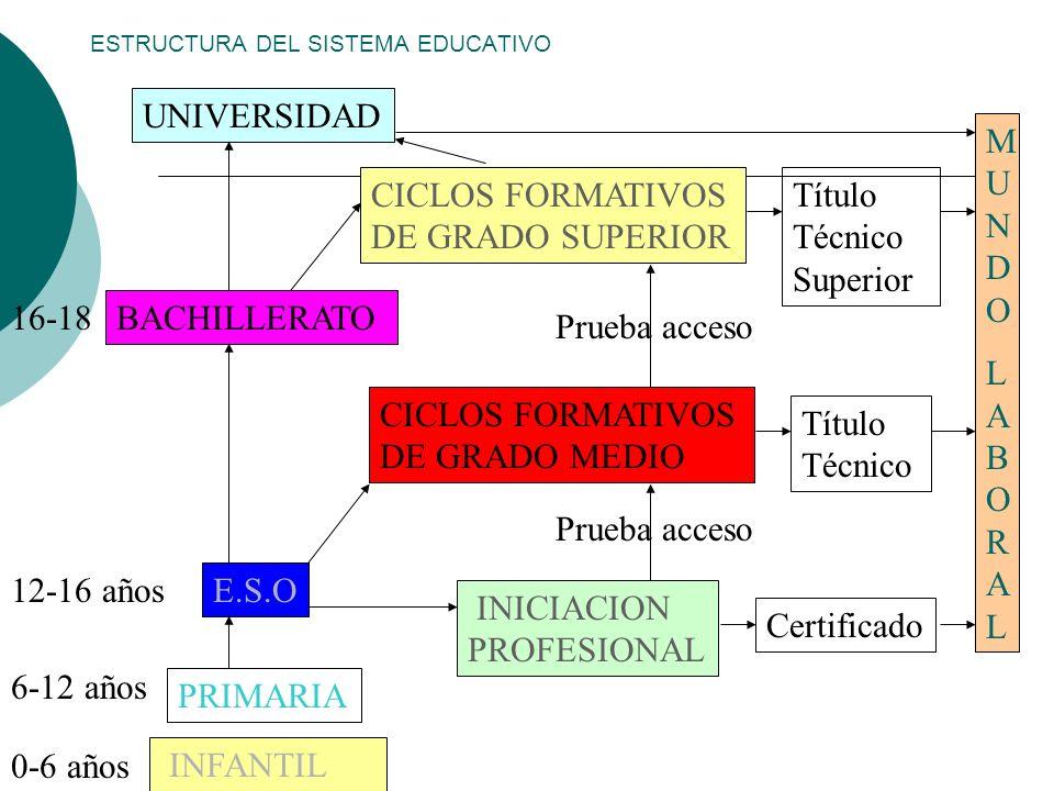 ESTRUCTURA DEL SISTEMA EDUCATIVO MUNDOLABORALMUNDOLABORAL INFANTIL PRIMARIA E.S.O 0-6 años 6-12 años 12-16 años INICIACION PROFESIONAL Certificado Pru