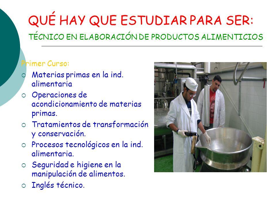 TÉCNICO EN ELABORACIÓN DE PRODUCTOS ALIMENTICIOS.