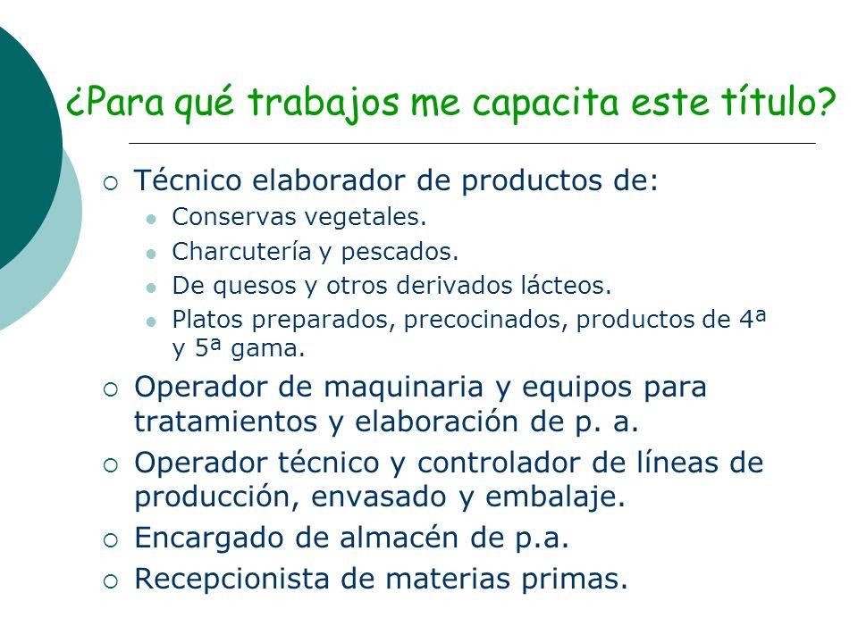 ¿Para qué trabajos me capacita este título? Técnico elaborador de productos de: Conservas vegetales. Charcutería y pescados. De quesos y otros derivad