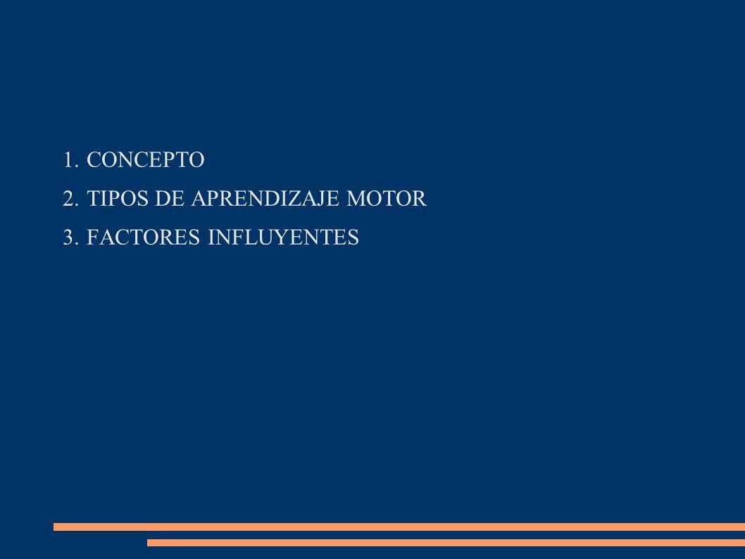 1.CONCEPTO 2.TIPOS DE APRENDIZAJE MOTOR 3.FACTORES INFLUYENTES