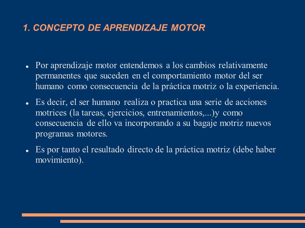 1. CONCEPTO DE APRENDIZAJE MOTOR Por aprendizaje motor entendemos a los cambios relativamente permanentes que suceden en el comportamiento motor del s