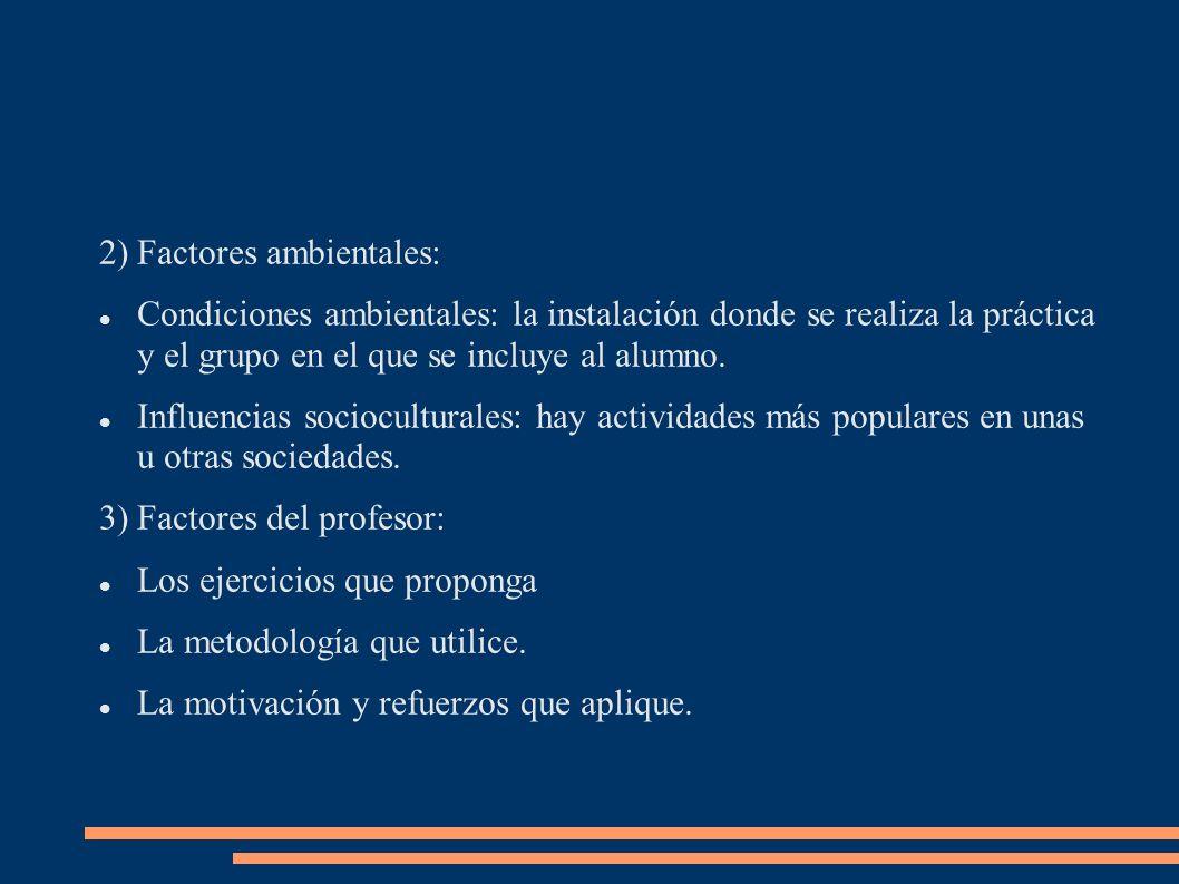 2)Factores ambientales: Condiciones ambientales: la instalación donde se realiza la práctica y el grupo en el que se incluye al alumno. Influencias so