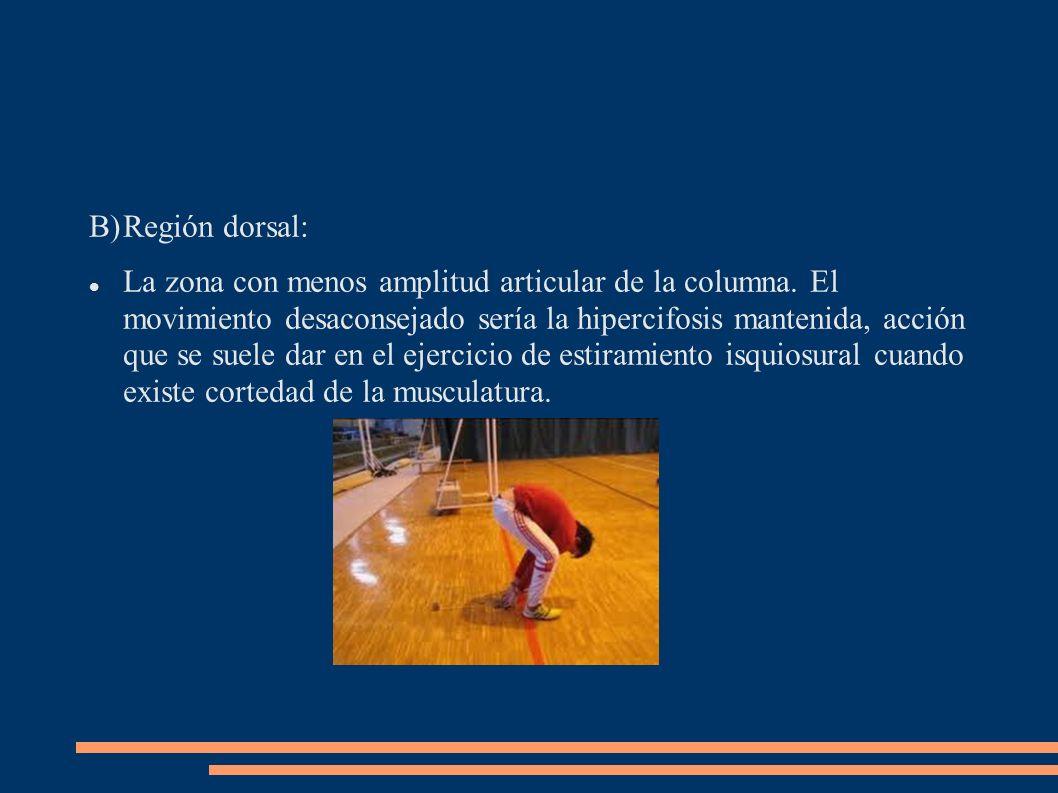 B)Región dorsal: La zona con menos amplitud articular de la columna. El movimiento desaconsejado sería la hipercifosis mantenida, acción que se suele