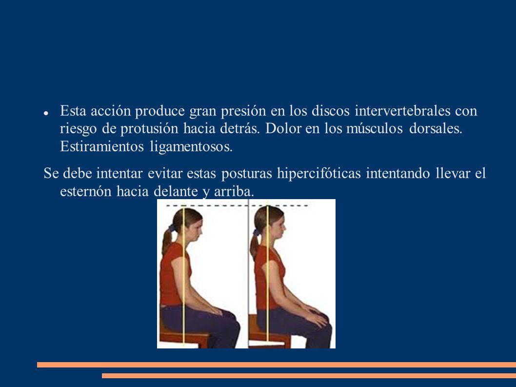 Esta acción produce gran presión en los discos intervertebrales con riesgo de protusión hacia detrás. Dolor en los músculos dorsales. Estiramientos li