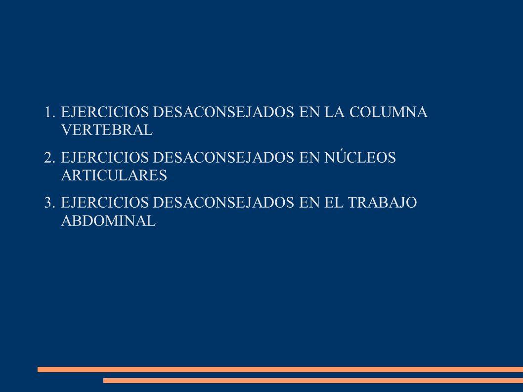 1.EJERCICIOS DESACONSEJADOS EN LA COLUMNA VERTEBRAL 2.EJERCICIOS DESACONSEJADOS EN NÚCLEOS ARTICULARES 3.EJERCICIOS DESACONSEJADOS EN EL TRABAJO ABDOM