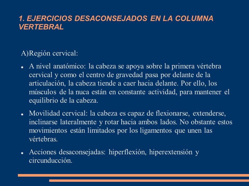 1. EJERCICIOS DESACONSEJADOS EN LA COLUMNA VERTEBRAL A)Región cervical: A nivel anatómico: la cabeza se apoya sobre la primera vértebra cervical y com