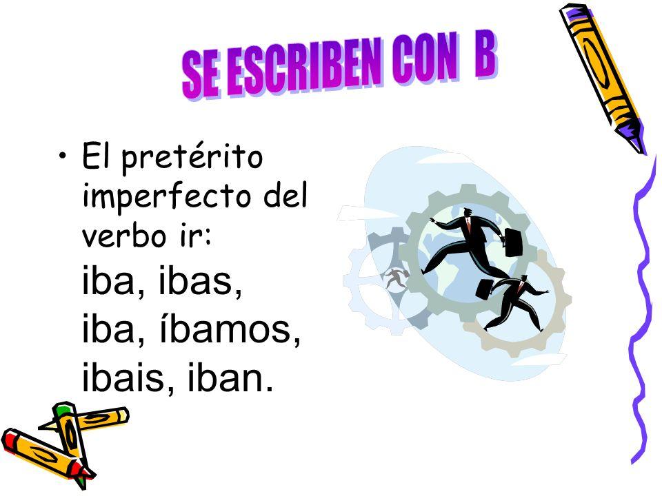 El pretérito imperfecto del verbo ir: iba, ibas, iba, íbamos, ibais, iban.