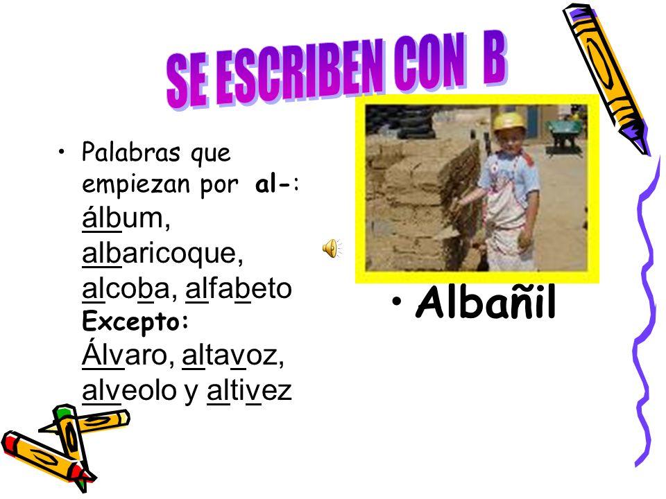 Palabras que empiezan por al-: álbum, albaricoque, alcoba, alfabeto Excepto: Álvaro, altavoz, alveolo y altivez Albañil