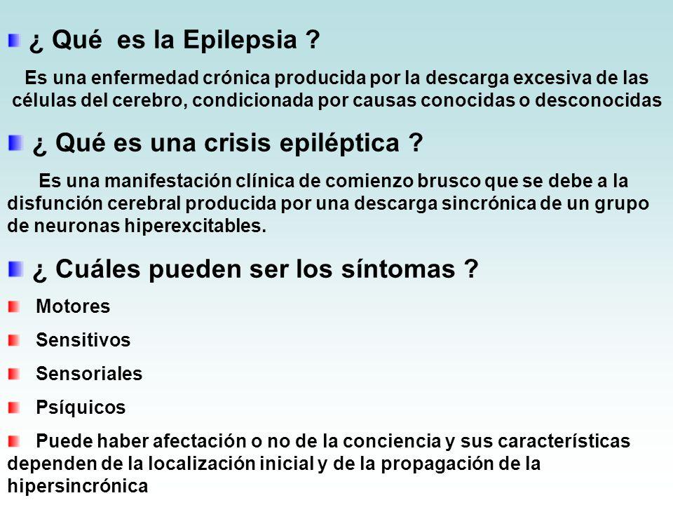 ¿ Qué es la Epilepsia ? Es una enfermedad crónica producida por la descarga excesiva de las células del cerebro, condicionada por causas conocidas o d
