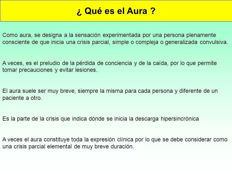 ¿ Qué es el Aura ? Como aura, se designa a la sensación experimentada por una persona plenamente consciente de que inicia una crisis parcial, simple o