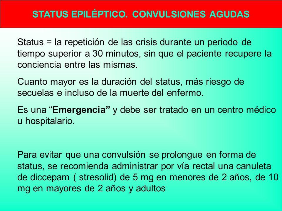 STATUS EPILÉPTICO. CONVULSIONES AGUDAS Status = la repetición de las crisis durante un periodo de tiempo superior a 30 minutos, sin que el paciente re