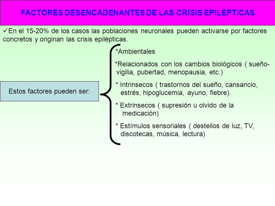 FACTORES DESENCADENANTES DE LAS CRISIS EPILÉPTICAS En el 15-20% de los casos las poblaciones neuronales pueden activarse por factores concretos y orig