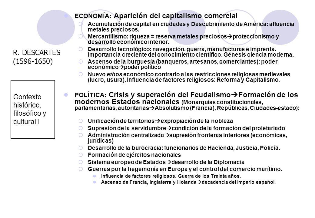 Contexto histórico, filosófico y cultural I ECONOMÍA: Aparición del capitalismo comercial Acumulación de capital en ciudades y Descubrimiento de Améri