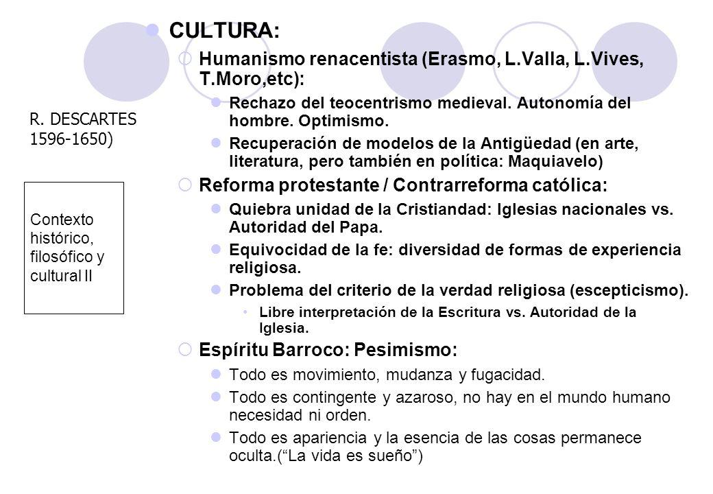 Contexto histórico, filosófico y cultural II CULTURA: Humanismo renacentista (Erasmo, L.Valla, L.Vives, T.Moro,etc): Rechazo del teocentrismo medieval