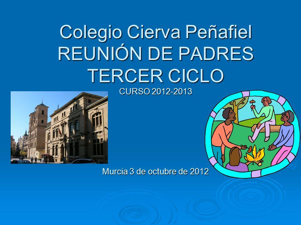 Colegio Cierva Peñafiel REUNIÓN DE PADRES TERCER CICLO CURSO 2012-2013 Murcia 3 de octubre de 2012